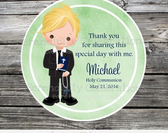 First Holy Communion, Baptism, Confirmation, Religious, Set of 12 Personalized Boy Favor Tags, Stickers, Thank You Tag, Green watercolor