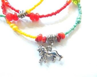 Rasta Waist Beads, Rastafari Regal Lioness Waist Beads, Empress  Belly Chain, Rasta Woman Waist Beads