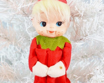 Vintage Large Christmas Knee Hugger Elf Red Green White Large Blonde Felt Pixie Cardinal Toys Japan 1960's