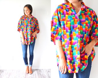 Vintage retro cat neon 80's shirt top // oversized summer blouse // short sleeve slouchy top // tied up summer shirt // large XL blouse