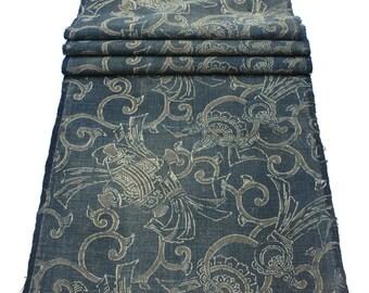 Antique Japanese Boro Textile. Handwoven Katazome Cotton. Natural Indigo Stencil Dyed Folk Fabric  (Ref: 1372)