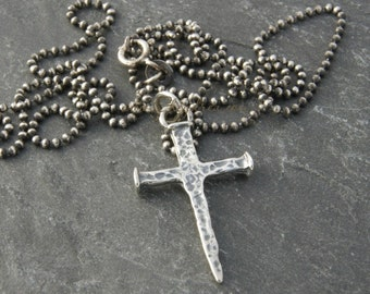 Gift for Him, Gift for Son, BIRTHDAY GIFT for SON, Sterling Silver Nail Cross Necklace, Boys Baptism Gift, Birthday Gift Dad