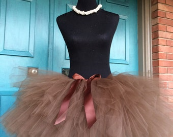 """Solid Brown Adult Tutu for waist up to 34 1/2"""" great for Halloween, Birthdays, Dance and Bachelorette parties"""