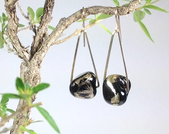 Black and moongold glass nugget earrings