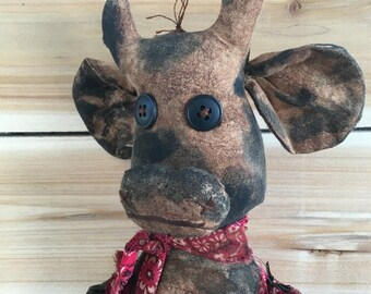 primitive country cow - primitive country decor - farmhouse decor - rustic farm decor - primitive folk art cow doll - kitchen cow decor