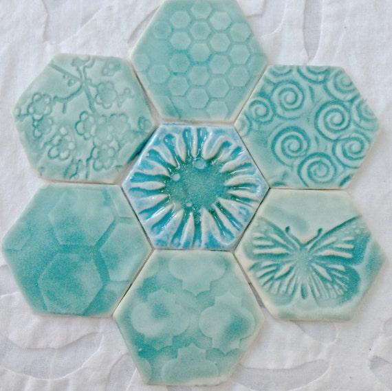 Magnet Set, Fridge Art, Refridgerator Magnet, Spring decor, textured turquoise, Hexagon magnets, fridge magnets, ceramic pottery magnets,