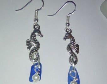Blue sea glass earrings - seahorse earrings - beach glass earrings -dangle blue earrings.