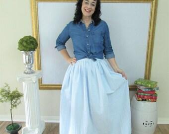 Blue Seersucker Midi Skirt, Mini Skirt or Maxi Ball skirt  full, gathered skirt custom made to order also in plus size