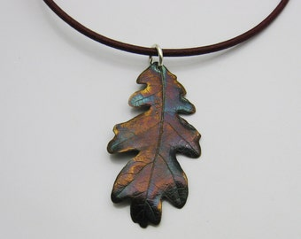 Handmade Silver Oak Brush Leaf on Wine Leather Cord Necklace, BOHO, Leaf Jewelry, Tree Jewelry, Nature Jewelry, Oak Tree Leaf, Colorado Fall