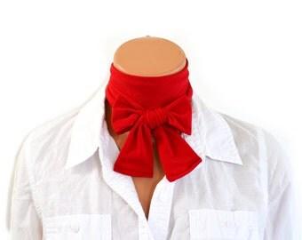 True Red Scarf Women's Neck Tie Lightweight Scarf Hair Tie Red Sash Belt Christmas Necktie hisOpal Red Scarf Cravat Unisex Holiday Tie