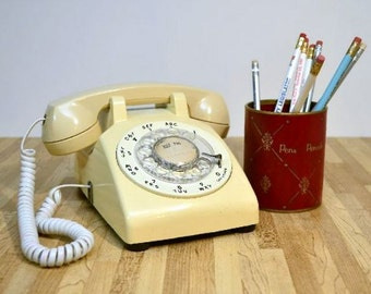 Vintage Rotary Phone Western Electric Cream Colored Desk Phone Land Line Telephone with Volume AT&T Handset