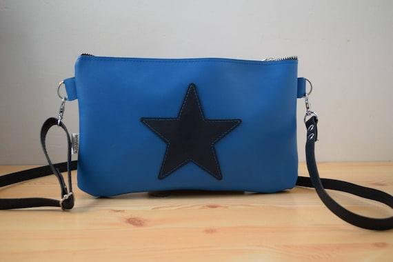 Leather purse bag,star handbag,blue leather purse,leather blue handbag,stars leather,stars purse bag,crossbody bag,steampunk,stars