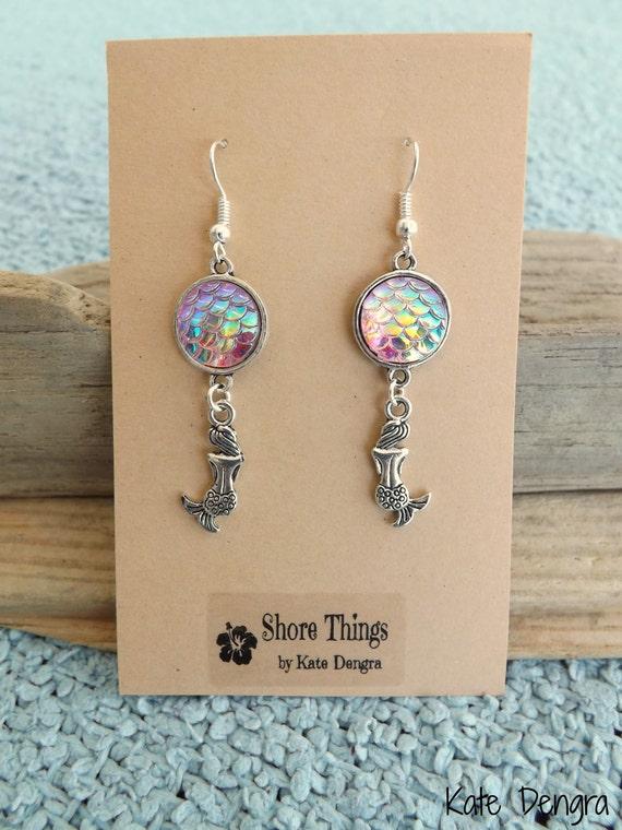 Iridescent Pink Mermaid Scale Dangle Earrings Ear Wire Fish Scale Shore Things by Kate Dengra Spain Beach Ocean Theme