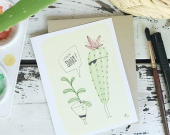 lookin' sharp, folded greeting card, watercolor catus card