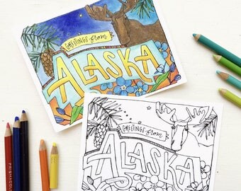 Coloring Postcard, ALASKA handdrawn postcard