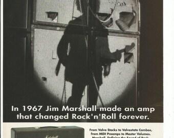 1995 Advertisement Marshall Jim Amplifier Amp 1967 Valve Stacks Valvestate Combos Guitar Jam Space Music Studio Room Wall Art Decor