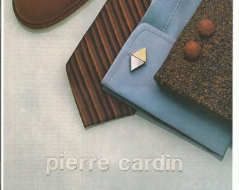 1980 Advertisement Pierre Cardin 80s Mens Designer Fashion Style Cuff Links Shoes Tie Shirt Jacket Outfit Wardrobe Wall Art Decor