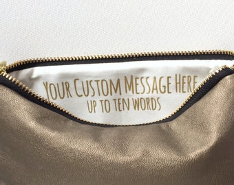 Gold Leather Makeup Bag w. Custom Message. Gift for Her Under 50