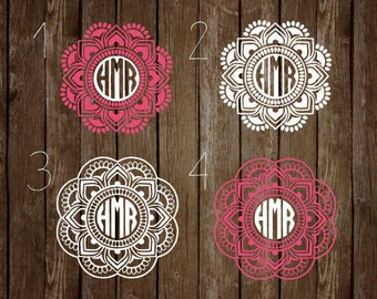 Mandala Decal, Mandala Monogram Decal, Car Decal, Phone Decal, Laptop Decal, Window Decal, Decal, Vinyl Decal