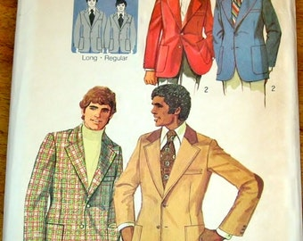 Vintage 1970s Sewing Pattern Simplicity 5217 Mens Proportioned Suit Jacket, Regular and Long Lengths, Chest 42 Waist 36 Uncut Factory Folds