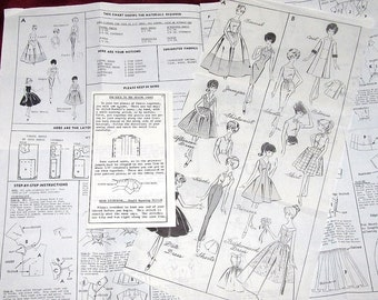 """Vintage 1960s Mail Order Barbie Clothes Pattern, 11.5"""" Doll Coat, Sheath, Formal Dress, Blouse Skirt, Bridesmaid Gown Complete Neatly Cut"""