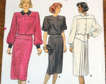 Vintage 1980s Sewing Pattern Vogue 9406 Dress with Front and Back Yoke and Pleats Womens Misses Size 6 8 10 Bust 30 31 32 Uncut Factory Fold