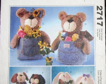 """Craft Sewing Pattern McCall's 2717 Jeanie Babies, 12"""" Sitter Dolls, Made with Purchased Denim Jeans, Bunny, Bear, Dog, Uncut Factory Folds"""