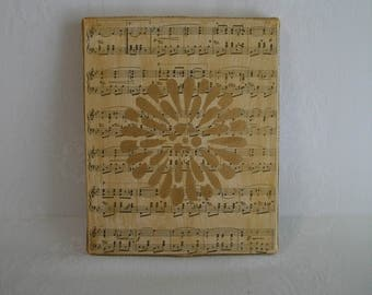 Music Wall Art - Aged Music Page on Canvas with Gold Flower Bloom and Burlap Edges - Ready to Hang Musical Art Gift