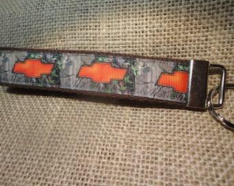 Chevy emblem on Camo  Ribbon on webbing, Key Fob or Key Chain