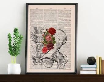 Springtime Pelvis Decorative Art, Flowers on Skull ,Nature Inspired Print, Decorative Art, Wall hanging print, Plevis Art flowers SKA136