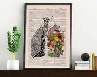 Springtime breathe, Decorative Art, Lungs with Flowers,Nature Inspired Print, Decorative Art, Wall hanging print Lungs Art flowers SKA139