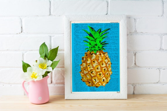 Tropical Pineapple poster print, giclee art print Wall art pineapple-Art print original artwork Dictionary page BFL095