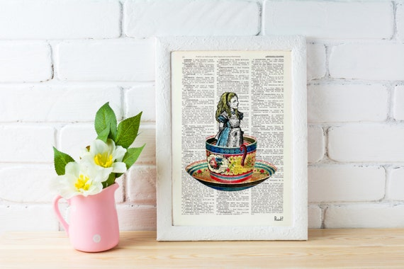 Summer Sale Alice in Wonderland- Alice in a tea cup- Mad hatter tea party - illustration print on dictionary, Wall hanging, ALW011