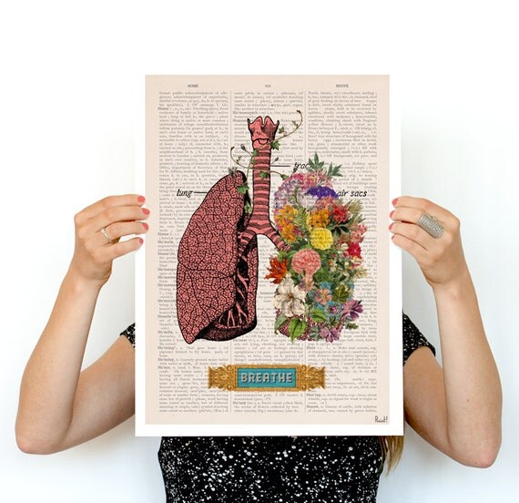Breath, Colorful Lungs Poster, anatomical art, Lungs art, Relax  flower art, Human Lungs poster SKA130PA3