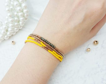 Toho Beaded Bracelet - Yellow bracelets, Stretchable, Pyrite Gemstone, Mulit Layered Bracelets