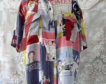 Vintage novelty print silk shirt