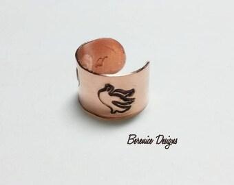 Copper Ear Cuff Heart and Dove