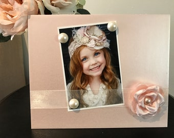 "Pink Vintage Rose with Pearls daughter gift handmade magnetic picture frame holds 5"" x 7"" photo 9"" x 11"" size"