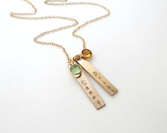 Personalized Gold Bar Necklace - Birthstone Jewelry - Name Necklace - Personalized Jewelry - Mothers Necklace - Kids Name - Engraved
