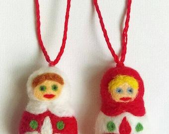 Christmas Nesting Doll Ornament Set
