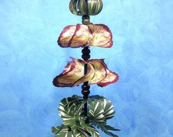 Burgundy Floral Pirouette Pinwheel Whirligig Spinner Windmill Fan