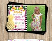 Pineapple Birthday Invitation, Printable, photo invite, luau, tropical birthday party, aloha, pink black gold pineapple, hawaiian invitation
