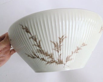 Thomas Rosenthal China Round Vegetable Bowl Pattern 07495 Ribbed Cream with Brown Branches and Leaves and Gold Trim