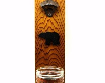 wall mount cast iron bottle opener beer mason jar cap catcher bear silhouette cedar