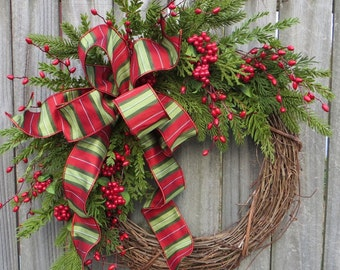 Christmas Grapevine Wreath with Berries, Christmas Wreath, Door Wreath, Christmas Door Wreath, Housewarming Gift