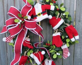 Santa Christmas / Holiday Wreath - Santa's Laundry Wreath, Burlap Textures, Mistletoe Wreath, Designer Holiday Decor, Whimsical Wreath