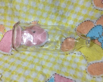 Vintage Glass Baby Bottle ~ 8 Ounce Baby Bottle With A Baby Crawling Design On The Side ~ Excellent Condition