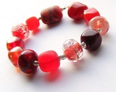 Handmade lampwork glass bead set of 12 red renegade beads - lampwork orphan beads