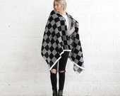 Winter Final Sale Christmas Sale blanket scarf - Black & white .