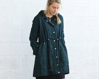Embroidered winter coat ,Green.